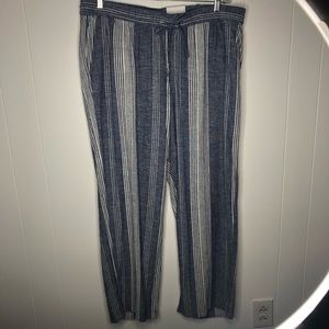 NWT Old Navy Striped Linen Pull On Pants. Size XL.